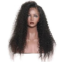 Long Kinky Curly Wigs side fringe Natural Looking Black Synt...