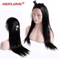 Straight Human Hair Wigs 150% Density Natural Black 360 Lace...