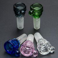 손잡이와 유리 그릇 색상 믹스 봉 그릇 14mm 18mm 남성 조각 물 파이프 잽 장식 유리 흡연 그릇 머리 색깔