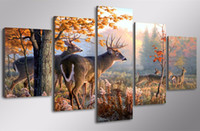 Impermeabile 5-Pezzi Spray Su Tela Wall Art Pittura Animale Decorativo Cervo Immagine Modulare Per Soggiorno Home Decor Unframed