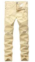 En Kaliteli Haki Biker Kot Pileli Tasarım Erkek Skinny Slim Streç Denim Pantolon 2016 Yeni Varış Hip-Hop Street Kot Pantolon