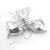 9 * 12 см серебряная золотая фольга органза сумка шнурок мешок ювелирных изделий сумки ткань мешок подарочные сумки свадьба/партия / Рождество упаковка дисплей