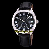 40mm Drive DE DATUM WSNM0009 Aziatisch 1731 Automatische Black Dial Mens Horloge Silver Steel Case Lederen Band Hoge Kwaliteit Nieuwe Gents Horloges
