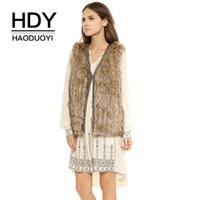 HDY Haoduoyi Brand 2017 PU Edge Covering Women Brown Faux Fu...