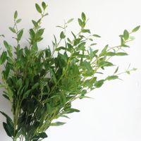 Искусственный оливковый дерево ветвь стебля искусственного зеленого / красного листа 6 стеблей / шт. Поддельная зелень растет оливковая листва