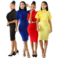Donne Ruffle Bodycon Dress 2018 Primavera Estate Robe Puff Sleeve Sexy Pencil Midi Club Party Abiti 4 colori Candy Abiti