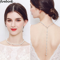 Elegant Pearl Chain Backdrop Necklace For Bride Bridesmaid T...