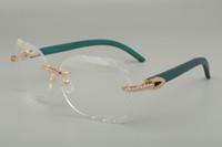 2019 новая мода высокого класса вырезанные очки кадр 8300817 алмазов серии синий / цвет / ручной резьбой деревянные очки рамы, 58-18-135mm