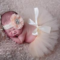Nouveau-né Bébé Tutu Jupe Photographie Props Paon À La Main Crochet Bonnet Perlé Chapeau Robe De Bal