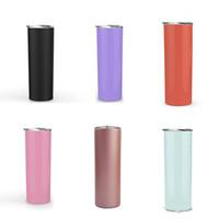 10 unids 20 oz vaso flaco color sólido de doble pared de acero inoxidable sippy taza vacío aislado vaso recto