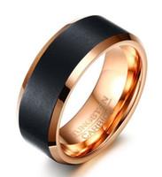 Bague de mariage 8mm comfort fit noir et rose doré couleur carbure de tungstène Bague pour homme et femme vente chaude aux Etats-Unis et en Europe