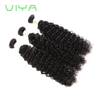 Viya Mongolian Curly Virgin Hair Wefts 3 buntar Naturlig svart mongolisk Kinky Curly Hair Weaves Mongolian Curly Human Hair Extensions
