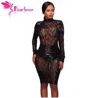 Dear Lover Long Sleeve Party Dresses 2018 Woman Black Sequin Decor High  Neck Transparent Bodycon Dress Vestidos De Festa Lc61775 Q1113 35e6b18bf3c2