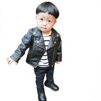 enfants tops enfant automne manteau de printemps vêtements enfants veste pour bébé filles garçons vêtements de plein air noir manteau en cuir PU pour enfants 2017