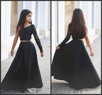 Zarif Siyah Iki Parçalı Kızın Pageant Elbiseler 2018 Yeni Tek Uzun Kollu Bir Çizgi Uzun Çocuk Gelinlik Çiçek Kız Elbise İlk
