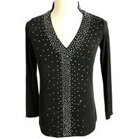 Camicia latina da uomo, colore nero, danza latina, top, ballo latino, pratica D0430 con strass manica lunga