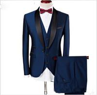 Mais recente projeto Custom made Bonito ternos de casamento Slim Fit Noivo Smoking formal vestidos Xaile Lapela Padronizados ternos (Jacket + Pants + colete)