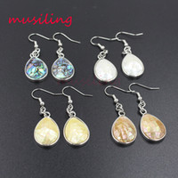 Orecchini pendenti argento placcato naturale Abalone Shell Charms Accessori Euramerican Fashion Reiki Chakra Jewelry For Women