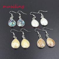 Orecchini pendenti argento placcato naturale Abalone Shell Charms Accessori Euramerican Fashion Reiki Chakra Jewelry For Women
