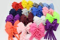 196 Farben! 4inch Korker Streamer Ribbon Elastic Bobble Grosgrain Ribbon Langkorker Schwanz Fancy Süße Haarbogen Mit Clip Für Mädchen 40pcs /