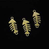 61 pcs liga de zinco encantos de bronze antigo banhado conector de osso de peixe encantos para fazer jóias diy pingentes artesanais 31 * 12mm