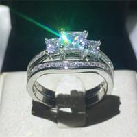 Женщин кольцо ясно CZ Diamonique белое золото заполненное обручальное обручальное кольца для женщин размер 5-10