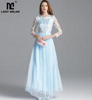 Новое поступление Женское Осенние Взлетно-посадочные полосы Вышивка Длинные Рукава Вечеринка Prom Elegant Maxi Мода Дизайнерские Платья