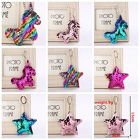 Sequin Unicorn Star Key Chain Christmas Keyring Cell Phone B...