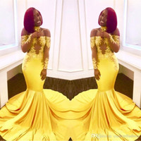 African Yellow Off the Shoulder Lace Prom Dresses 2018 Forma...