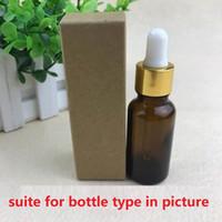 100pcs-10ml / 20ml / 30ml / 50ml / 100ml Boîte de papier Kraft noire et blanche pour une bouteille compte-gouttes d'huile essentielle vaporise un paquet de tubes à valve