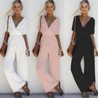 2018 donne scollo a V sciolto Playsuit Party Ladies pagliaccetto manica corta Tuta lunga S-XL