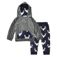 0-2T Baby Elk Hoody 2PC 세트 프론트 포켓 후드 + 사슴 인쇄 바지 유아 소년 소녀 가을 겨울 크리스마스 복장