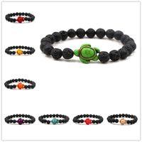 8 Renkler Taş Kaplumbağa Charms 8mm Siyah Lava Taş Boncuk Bilezik Uçucu Yağ Parfüm Difüzör Bilezikler Streç Yoga Takı