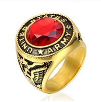 Хип-хоп США размер 7 до 15 панк эксклюзивные США Армия кольцо для мужчин из нержавеющей стали красное стекло партия кольцо солдат ювелирные изделия