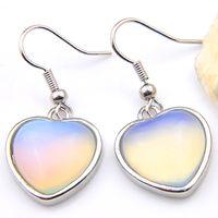 Luckyshine Date 2 pièces / lot 925 argent plaqué petit et exquis Moonstone Glass cristal boucle d'oreille bijoux livraison gratuite EA030