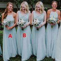 Robes de demoiselle d'honneur de pays Dusty Bleu Simple Plancher Longueur De Mariage Robe De demoiselle d'honneur Longue Fête Demières d'honneur Robes