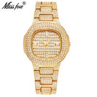 Miss Fox Brand Watch Quartz Ladies Gold Relojes de pulsera de moda Diamond Stainless Steel Women Reloj de pulsera Niñas Reloj Horas