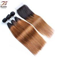 8A Ombre Brown Straight Hair Weave Bundles with Closure T 1B...