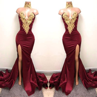 2018 New Design Sexy Burgundy Prom Dresses with Gold Lace Ap...
