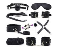 10pcs set Plush Handcuffs Leather Whip Ball Gag Magic Wand N...