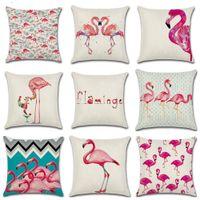 Algodón de lino Nuevo Pink Cartoon Flamingo Colorido Floral Bird World Pattern Funda de cojín Decoración del dormitorio Funda de almohada