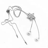 Encontrando el collar de doble perla de la hebilla de la estrella de cinco puntas con doble puntiagudo, 925 collar colgante de perlas de plata esterlina accesorio accesorio