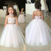 2018 Princess Cute Pink Two Pieces High Neck Flower Girls Dr...