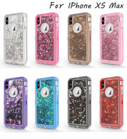 3 en 1 Glitter liquide bling Quicksand Crystal Case Cas pour iPhone 11 Pro Max Xr Xs 8 7 6S plus Samsung S10 plus S10 20 Lite Note 10