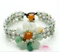 Al por mayor - Burma Jade Sun Flor pulsera de jade con cuentas de estilo chino Joyería de Jade