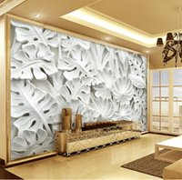 Modern Simple Abstract Art Wallpaper 3D Relief White Leaves ...