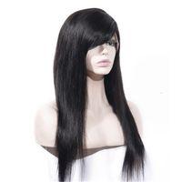 Parrucche di capelli umani diritti naturali cambogiani 130% parte della parte laterale della densità parrucca anteriore del pizzo di colore naturale con le frange