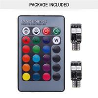 2x T10 6SMD 5050 RGB Remote Control LED Car Wedge Luce laterale Lampada da lettura Lampadina all'ingrosso