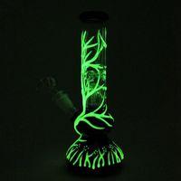 Phosphorescent Verre Unique Eau Bongs UV Bong Dab Rigs Rigs Huile Diffused Downstem 4 armes Arbre Perc Pipes eau Cire fumeur Rig verre Hoo