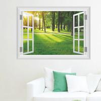 Поддельный окно просмотра этикета стены Солнечный лес Дерево Луговые стены стикеры для гостиной красивый пейзаж Наклейки на стены Home Decor